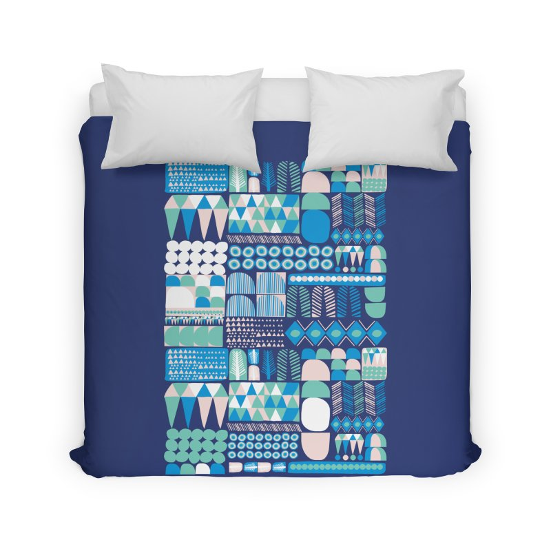 Blue Shapes & Lines Home Duvet by The Babybirds