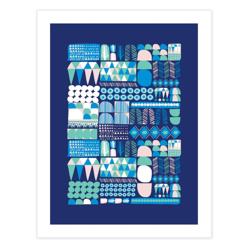 Blue Shapes & Lines Home Fine Art Print by The Babybirds