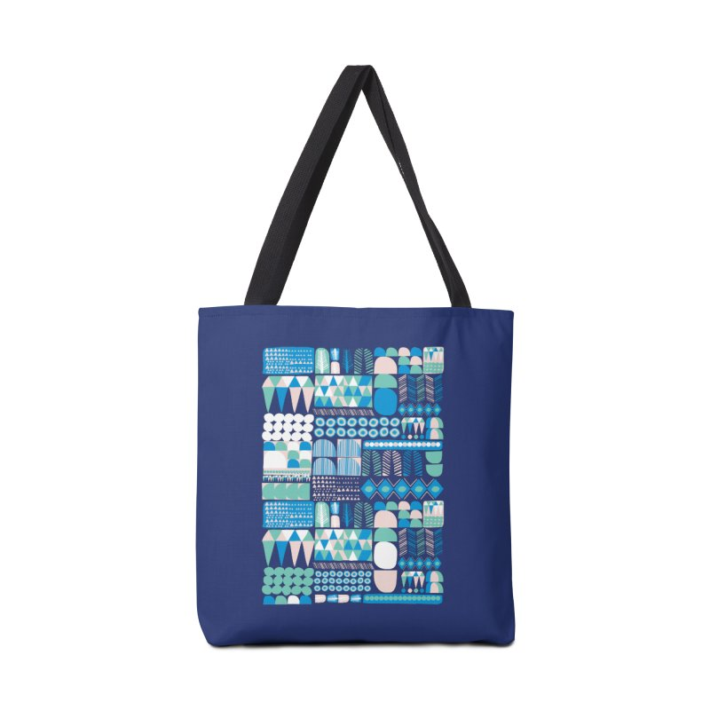 Blue Shapes & Lines Accessories Tote Bag Bag by The Babybirds