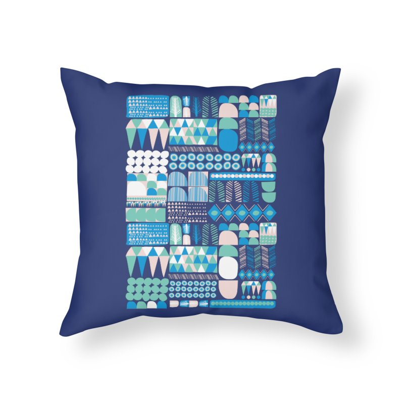 Blue Shapes & Lines Home Throw Pillow by The Babybirds