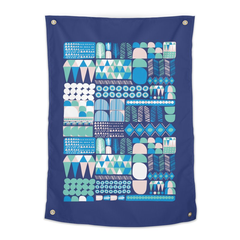 Blue Shapes & Lines Home Tapestry by The Babybirds