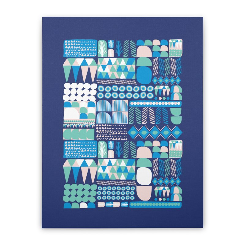 Blue Shapes & Lines Home Stretched Canvas by The Babybirds