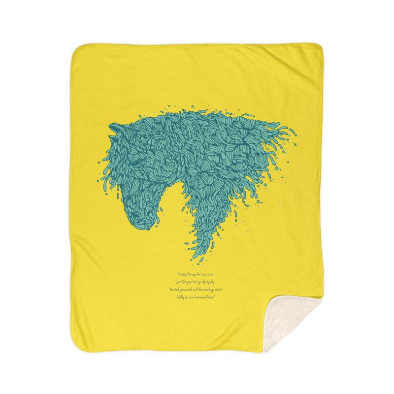 Horsey Home Sherpa Blanket Blanket by The Babybirds