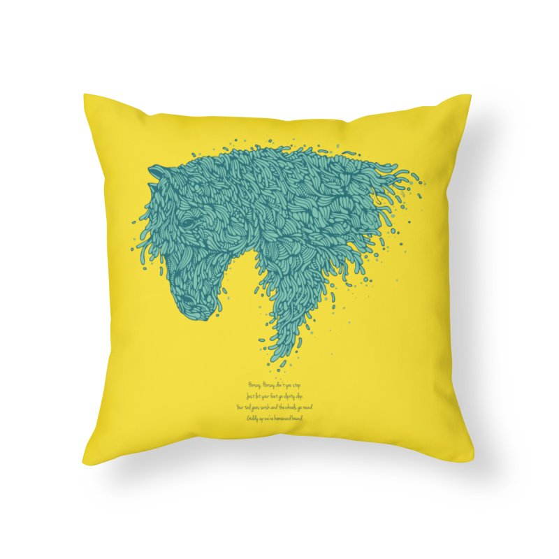 Horsey Home Throw Pillow by The Babybirds