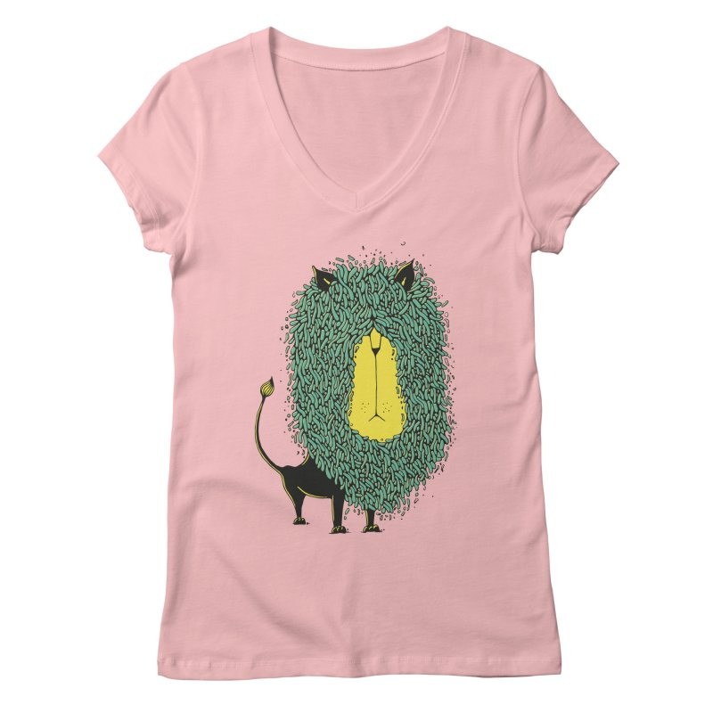 Afro Lion Women's V-Neck by The Babybirds
