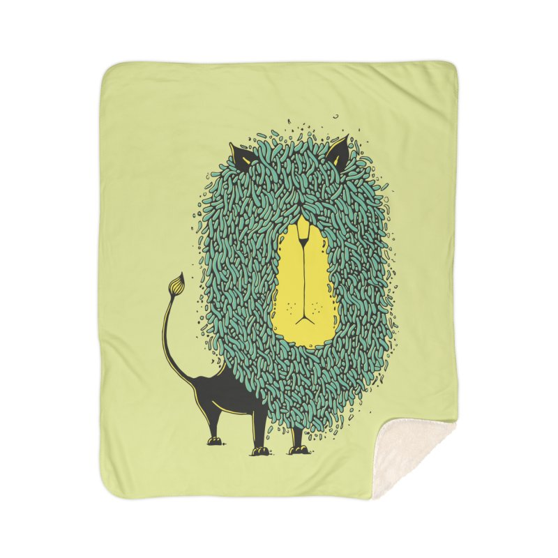 Afro Lion Home Sherpa Blanket Blanket by The Babybirds