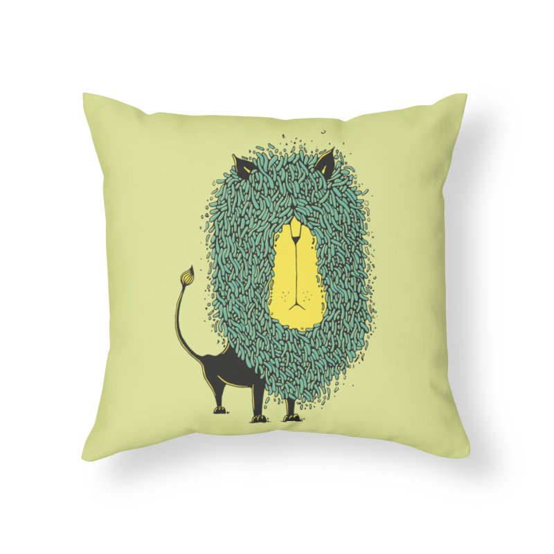 Afro Lion Home Throw Pillow by The Babybirds