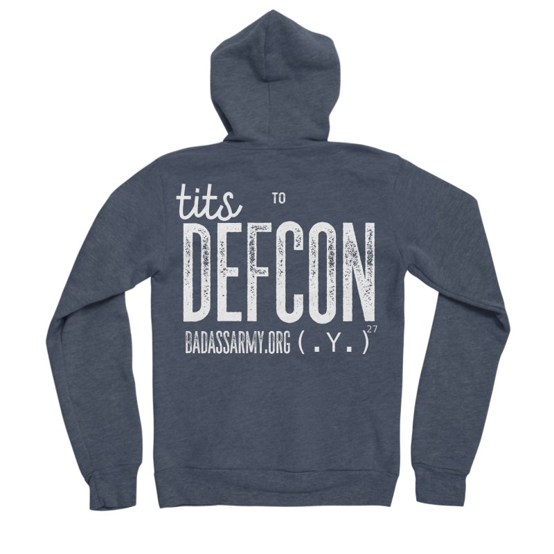 Tits to DEFCON- WHITE WRITING Men's Sponge Fleece Zip-Up Hoody by thebadassarmy's Artist Shop