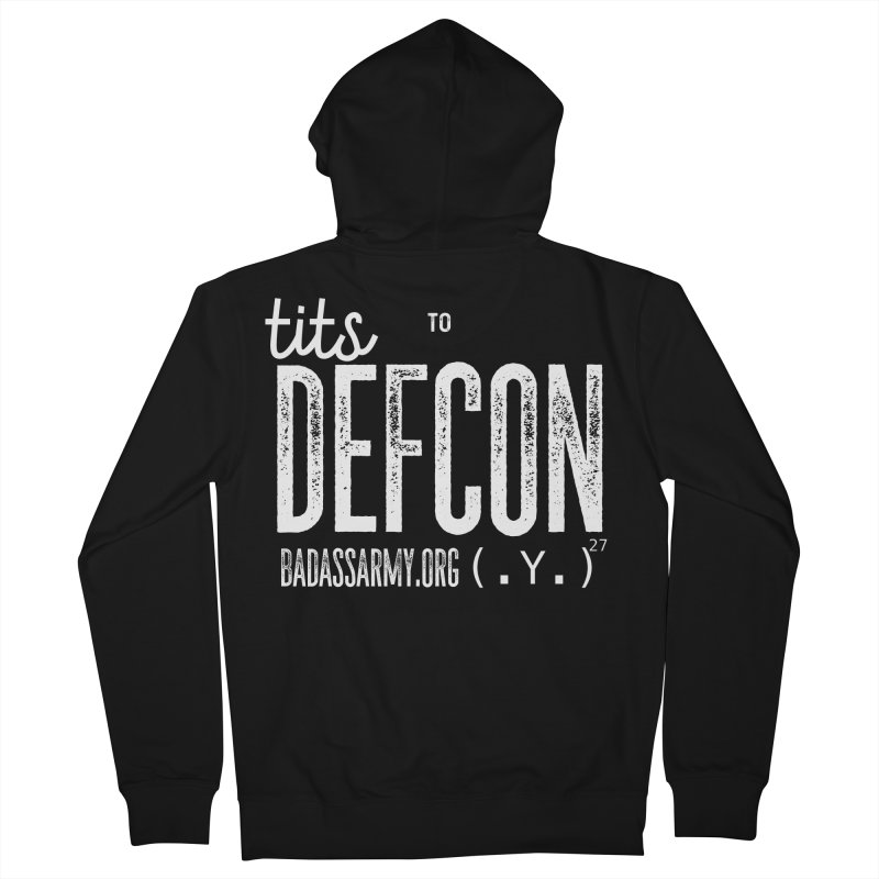 Tits to DEFCON- WHITE WRITING Men's French Terry Zip-Up Hoody by thebadassarmy's Artist Shop