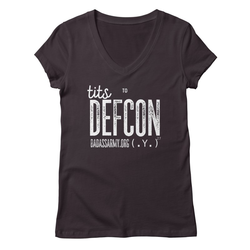 Tits to DEFCON- WHITE WRITING Women's Regular V-Neck by thebadassarmy's Artist Shop