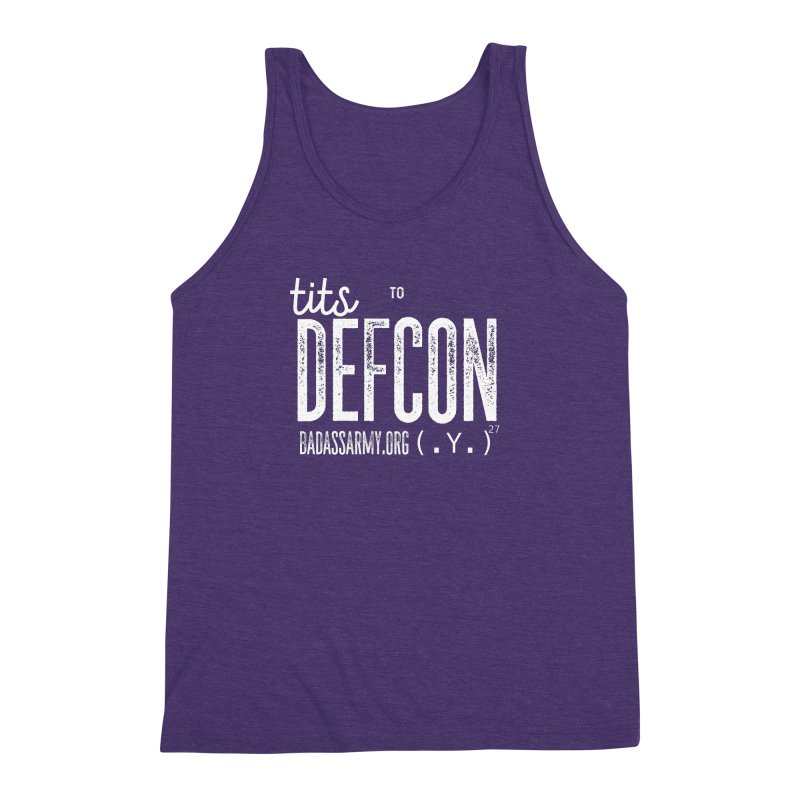 Tits to DEFCON- WHITE WRITING Men's Triblend Tank by thebadassarmy's Artist Shop