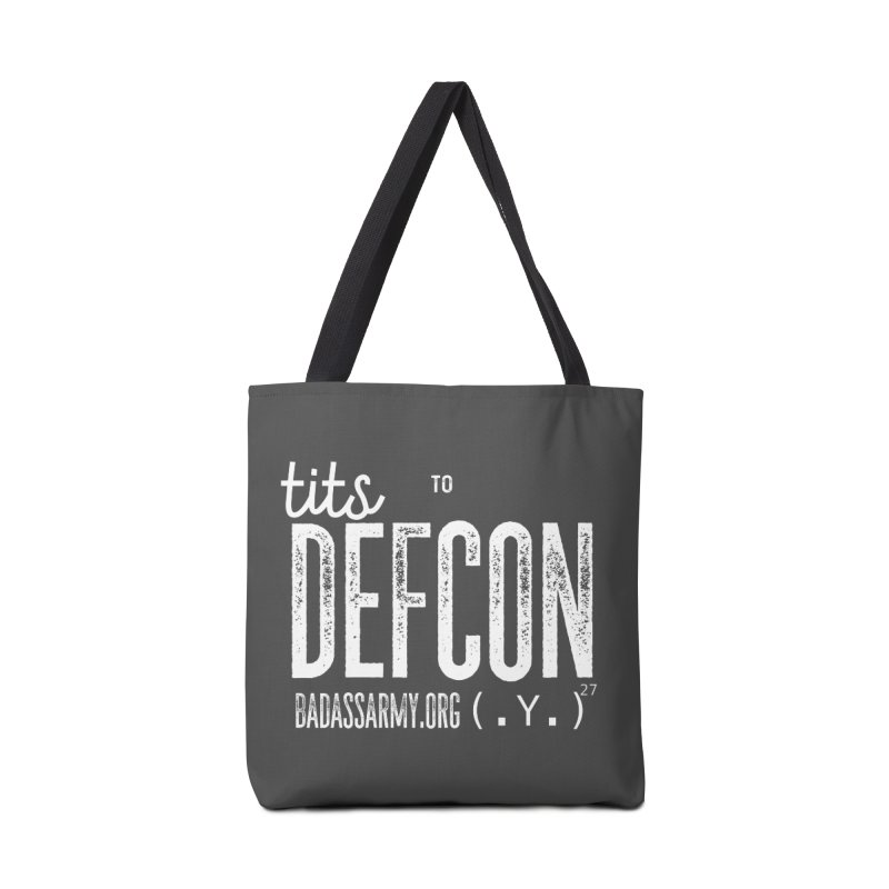 Tits to DEFCON- WHITE WRITING Accessories Tote Bag Bag by thebadassarmy's Artist Shop