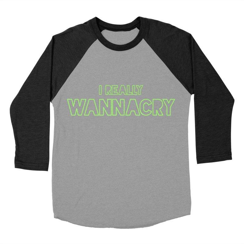 I really wannacry Men's Baseball Triblend Longsleeve T-Shirt by The Badass Army Shop