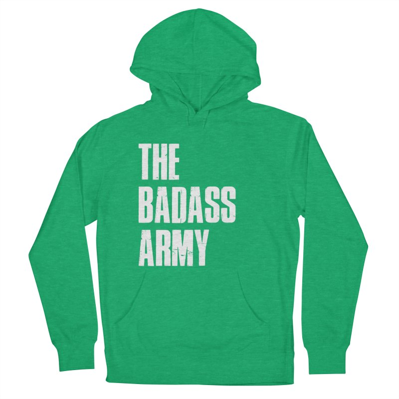 BADASS Logo  White Men's French Terry Pullover Hoody by thebadassarmy's Artist Shop