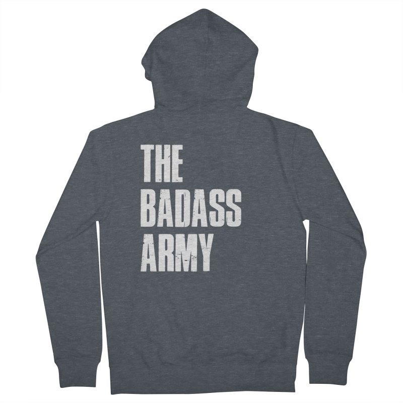 BADASS Logo  White Women's French Terry Zip-Up Hoody by The Badass Army Shop
