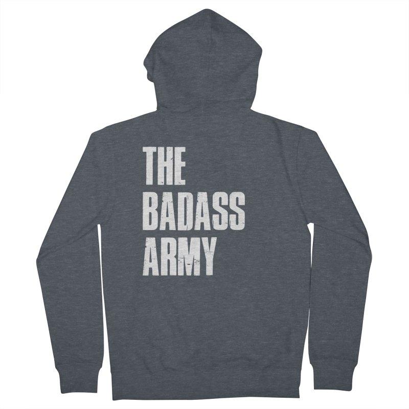 BADASS Logo  White Men's Zip-Up Hoody by The Badass Army Shop