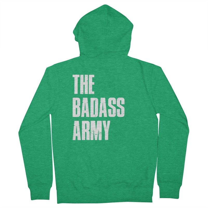 BADASS Logo  White Men's French Terry Zip-Up Hoody by thebadassarmy's Artist Shop