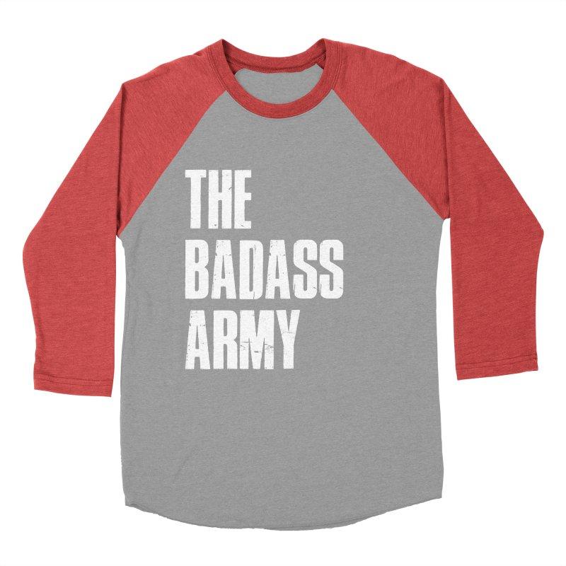 BADASS Logo  White Women's Baseball Triblend Longsleeve T-Shirt by thebadassarmy's Artist Shop