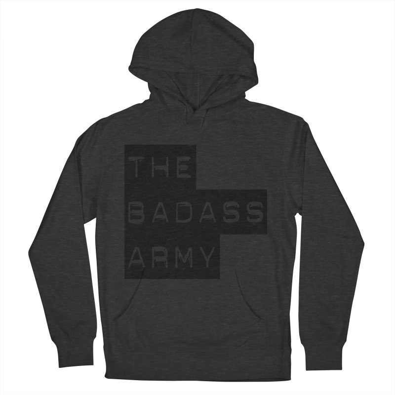 BADASS Block Logo Black Women's French Terry Pullover Hoody by The Badass Army Shop