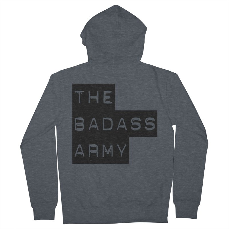 BADASS Block Logo Black Women's French Terry Zip-Up Hoody by The Badass Army Shop