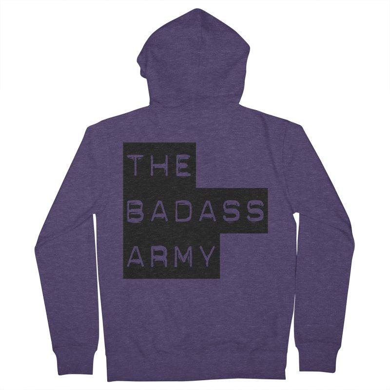 BADASS Block Logo Black Men's French Terry Zip-Up Hoody by The Badass Army Shop