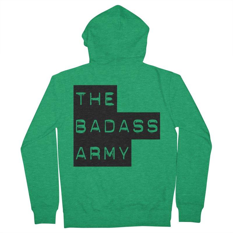 BADASS Block Logo Black Men's French Terry Zip-Up Hoody by thebadassarmy's Artist Shop
