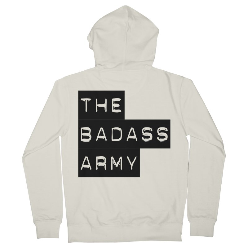 BADASS Block Logo Black Men's French Terry Zip-Up Hoody by thebadassarmy's Artist Shop