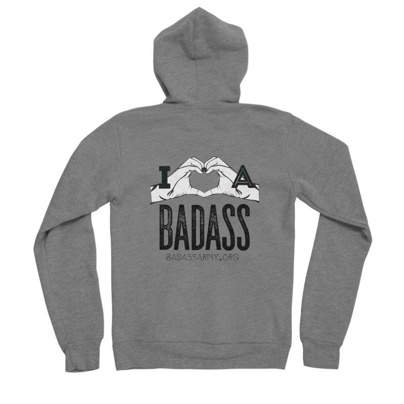 Badass Hand Heart Men's Sponge Fleece Zip-Up Hoody by The Badass Army Shop
