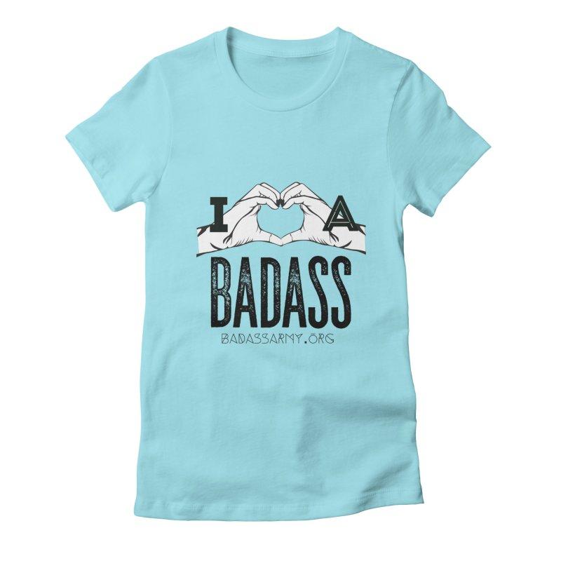 Badass Hand Heart Women's Fitted T-Shirt by thebadassarmy's Artist Shop