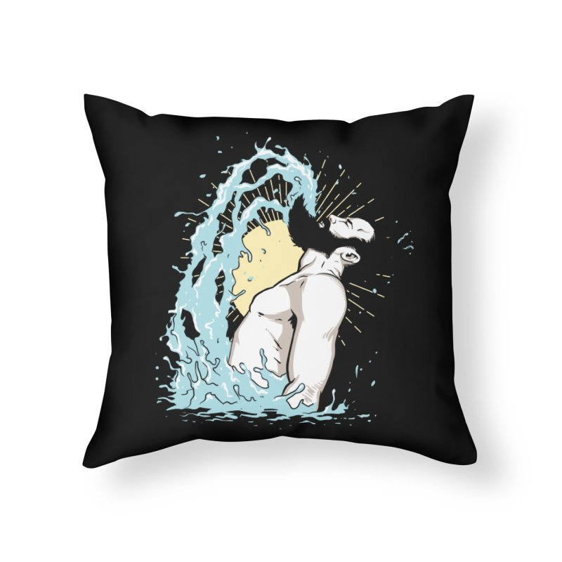Mermaid Flip Bearded Merman Home Throw Pillow by The Bearly Brand