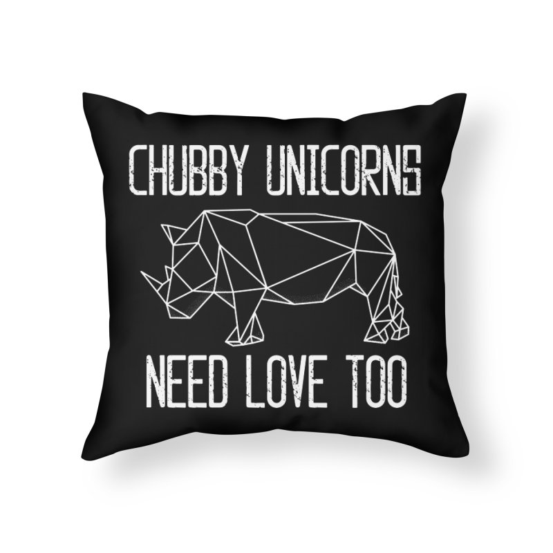 Chubby Unicorns Need Love Too Geometric Rhino Home Throw Pillow by The Bearly Brand