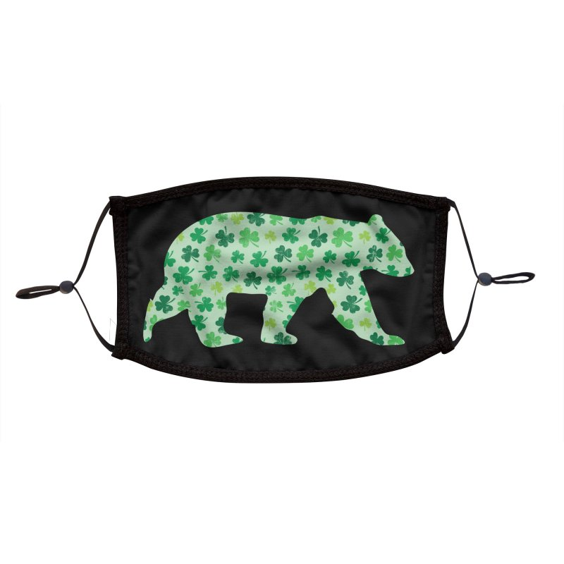 Clover Bear for St Patricks Day Green Vintage Lucky Accessories Face Mask by The Bearly Brand