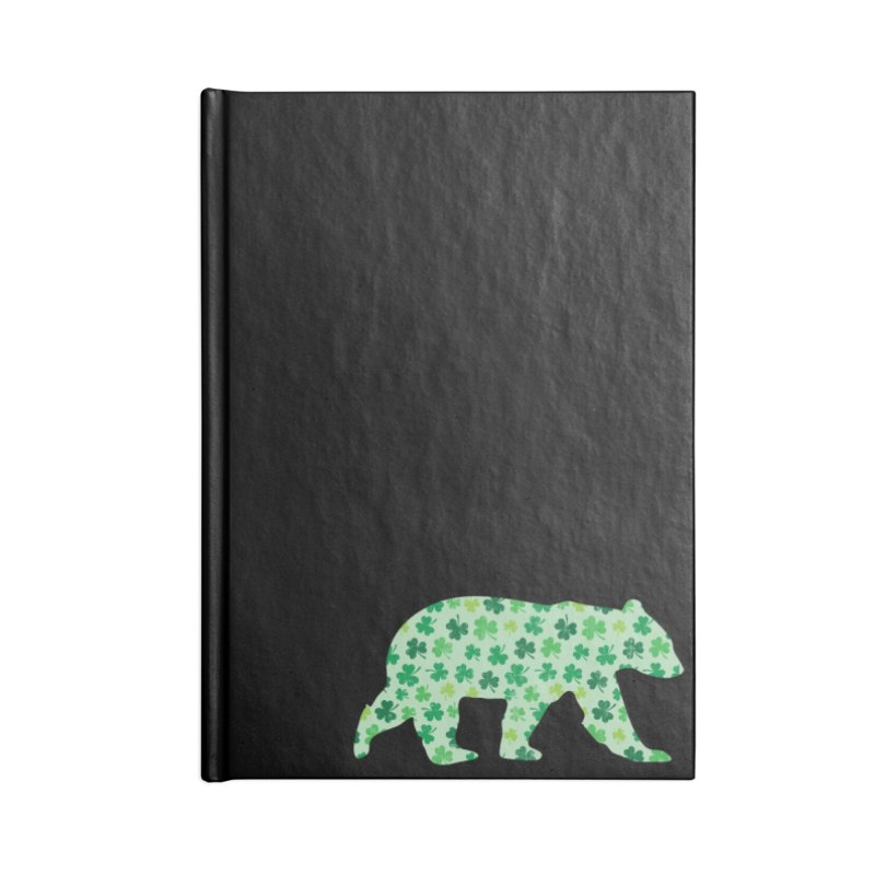 Clover Bear for St Patricks Day Green Vintage Lucky Accessories Notebook by The Bearly Brand
