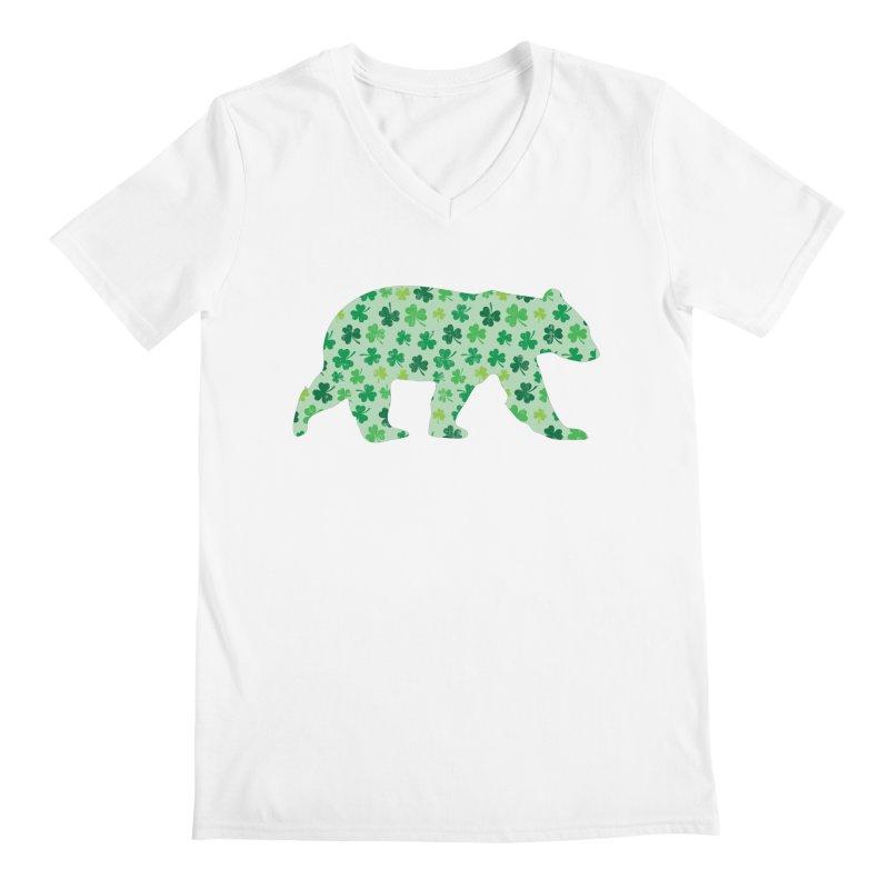 Clover Bear for St Patricks Day Green Vintage Lucky Men's V-Neck by The Bearly Brand