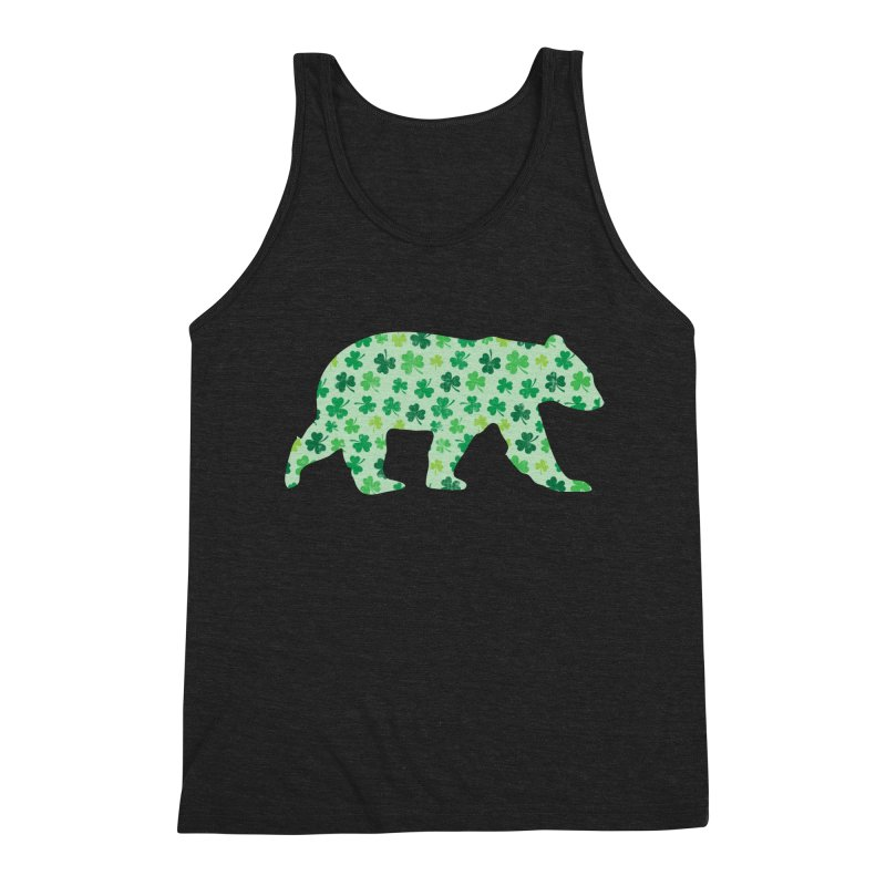 Clover Bear for St Patricks Day Green Vintage Lucky Men's Tank by The Bearly Brand