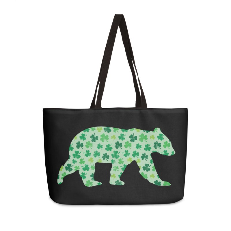 Clover Bear for St Patricks Day Green Vintage Lucky Accessories Bag by The Bearly Brand