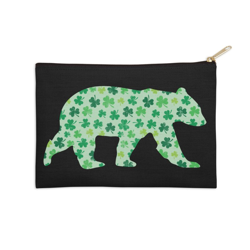 Clover Bear for St Patricks Day Green Vintage Lucky Accessories Zip Pouch by The Bearly Brand