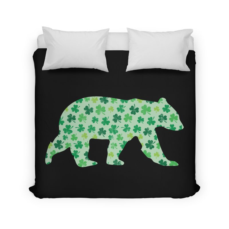 Clover Bear for St Patricks Day Green Vintage Lucky Home Duvet by The Bearly Brand