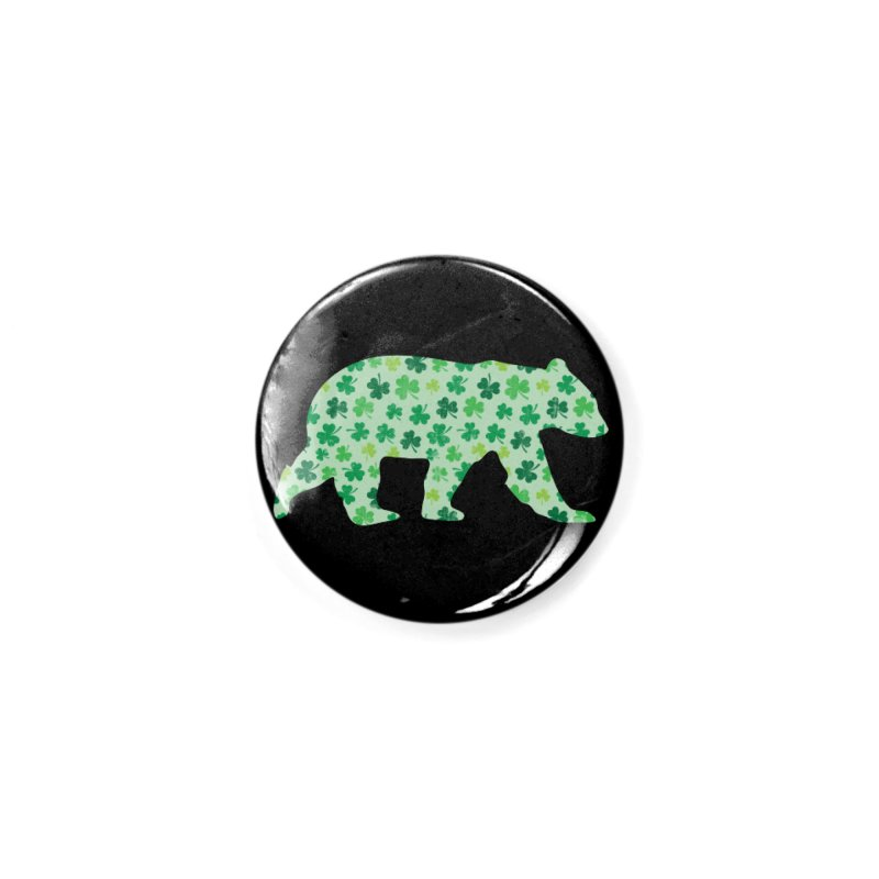 Clover Bear for St Patricks Day Green Vintage Lucky Accessories Button by The Bearly Brand