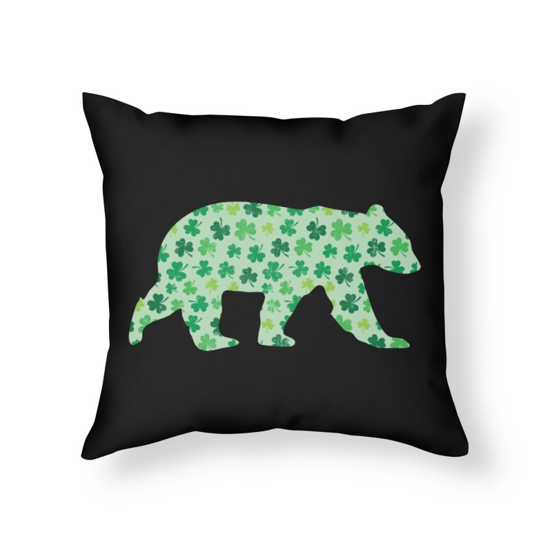 Clover Bear for St Patricks Day Green Vintage Lucky Home Throw Pillow by The Bearly Brand