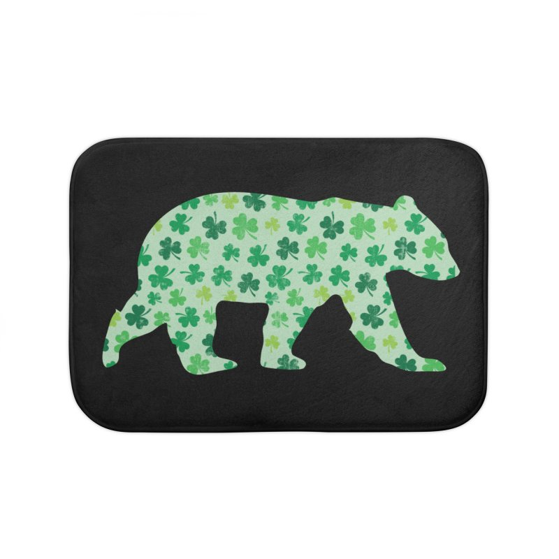 Clover Bear for St Patricks Day Green Vintage Lucky Home Bath Mat by The Bearly Brand