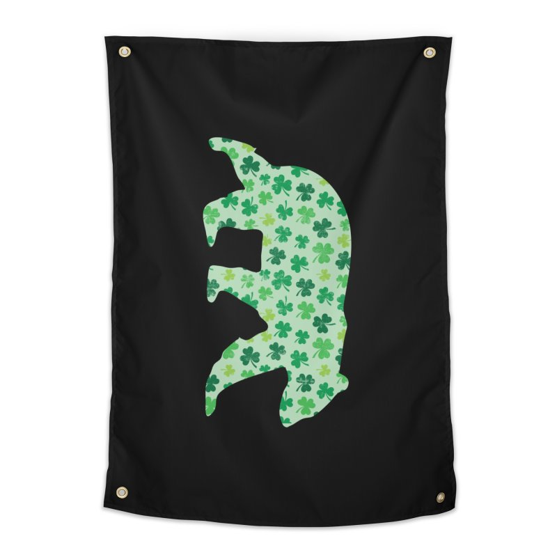 Clover Bear for St Patricks Day Green Vintage Lucky Home Tapestry by The Bearly Brand