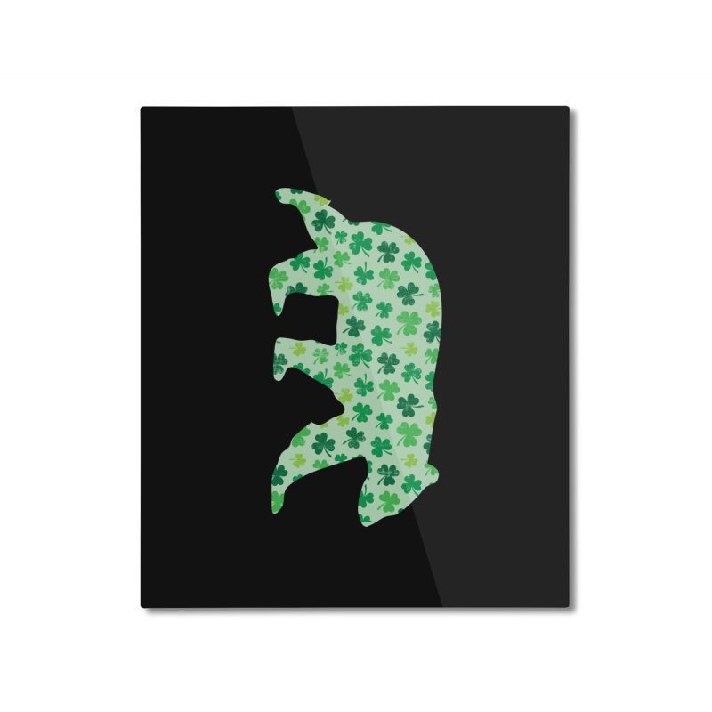 Clover Bear for St Patricks Day Green Vintage Lucky Home Mounted Aluminum Print by The Bearly Brand