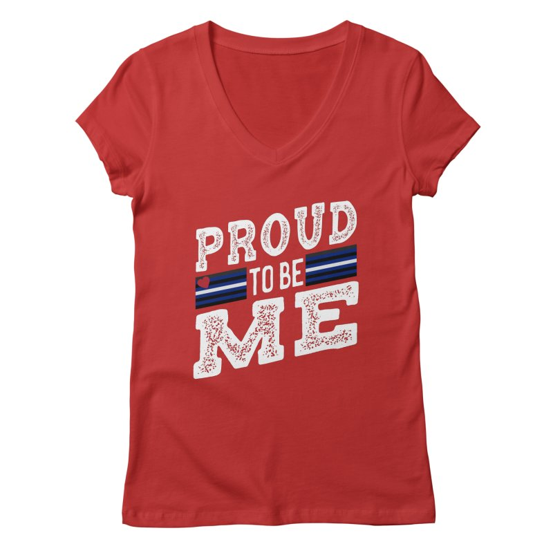 Proud to Be Me Leather Gay Pride LGBTQ Women's V-Neck by The Bearly Brand