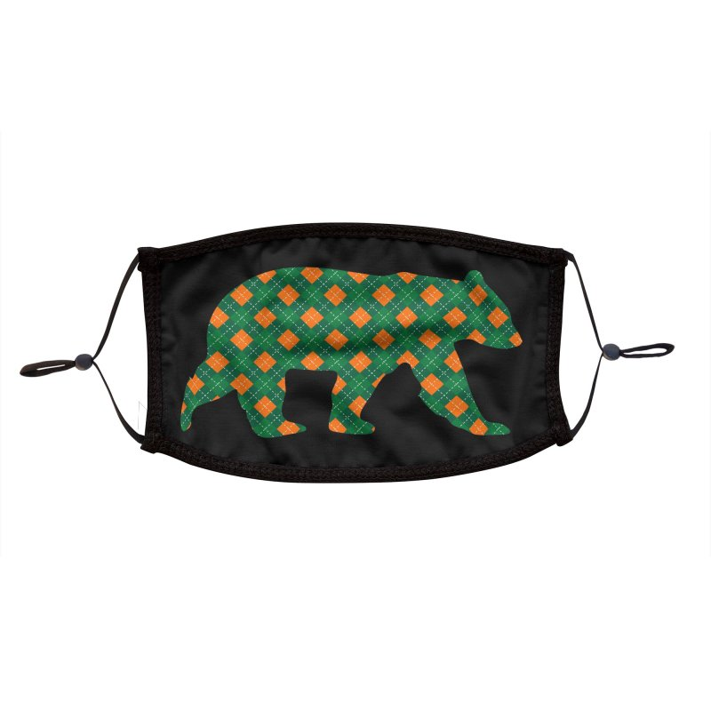 St. Patricks Day Argyle Bear with Green, White and Orange Accessories Face Mask by The Bearly Brand