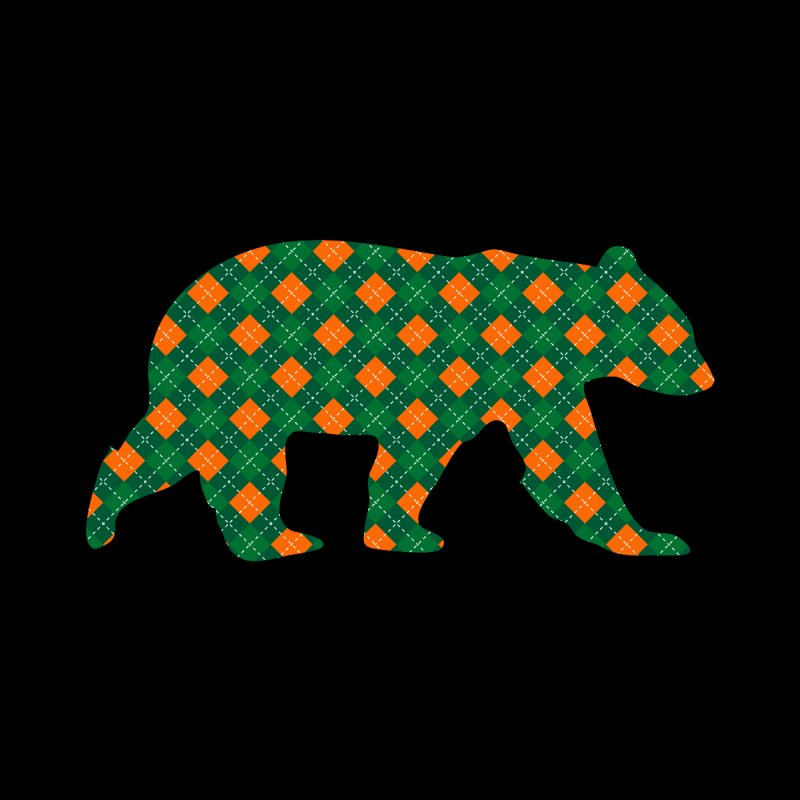 St. Patricks Day Argyle Bear with Green, White and Orange Women's Longsleeve T-Shirt by The Bearly Brand