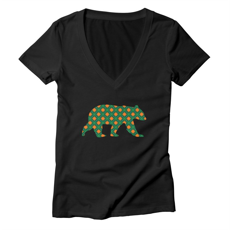 St. Patricks Day Argyle Bear with Green, White and Orange Women's V-Neck by The Bearly Brand