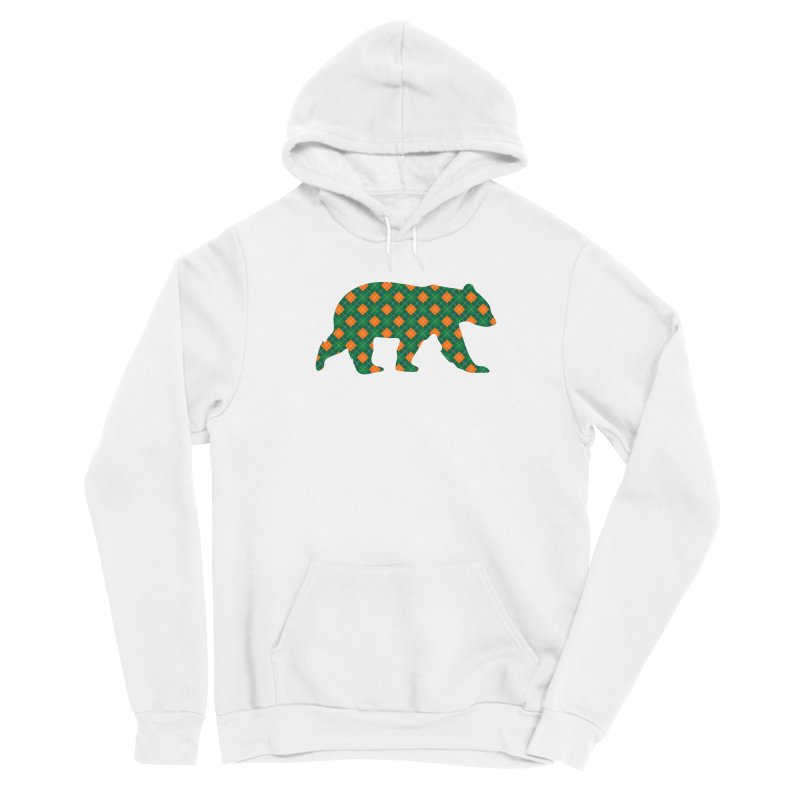 St. Patricks Day Argyle Bear with Green, White and Orange Women's Pullover Hoody by The Bearly Brand