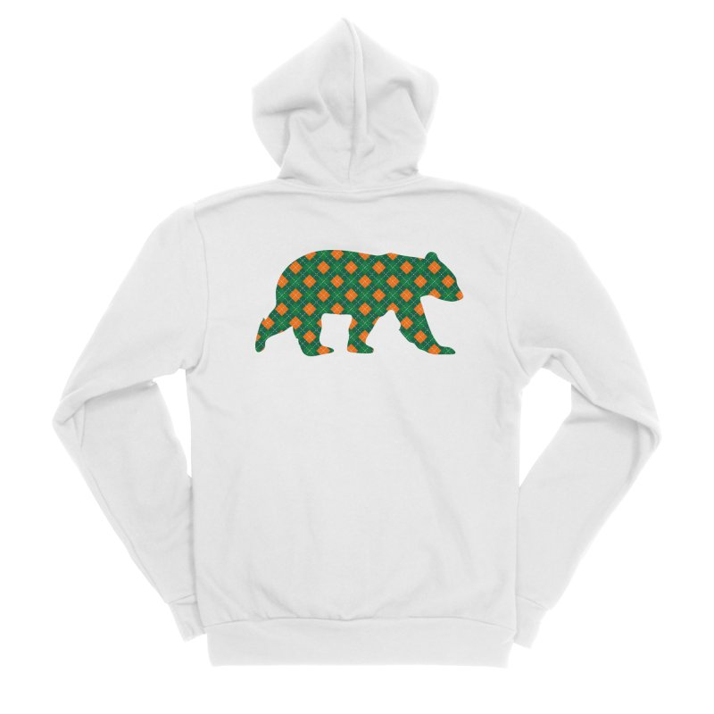St. Patricks Day Argyle Bear with Green, White and Orange Women's Zip-Up Hoody by The Bearly Brand