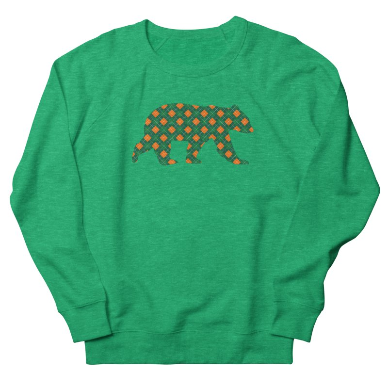 St. Patricks Day Argyle Bear with Green, White and Orange Women's Sweatshirt by The Bearly Brand